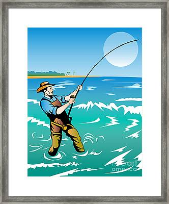 Fisherman Surf Casting Framed Print