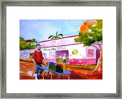 Fisherman With Bike Cart Framed Print by Buster Dight