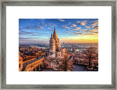 Framed Print featuring the photograph Fisherman's Bastion In Budapest by Shawn Everhart
