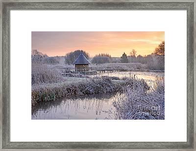 Fishermans Hut Winter Morning Framed Print by Richard Thomas