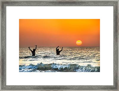 Apulia Canvas Fishermans Pull Their Fishnets At The Sunset On Adriatic Sea  Framed Print by Luca Lorenzelli