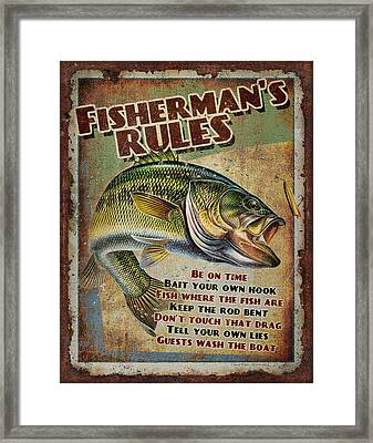 Fisherman's Rules Framed Print by JQ Licensing