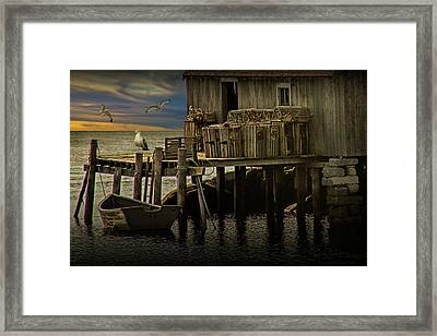 Fisherman's Wharf With Gulls At Peggy's Cove Framed Print