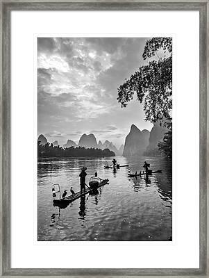 Fishermen At Dawn. Framed Print