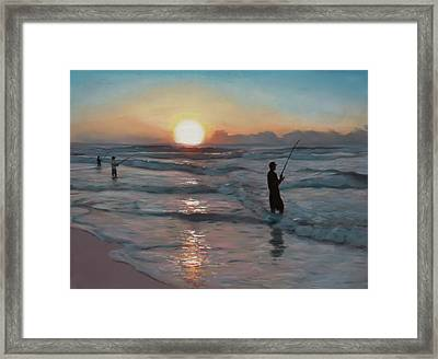 Fishermen At Sunrise Framed Print