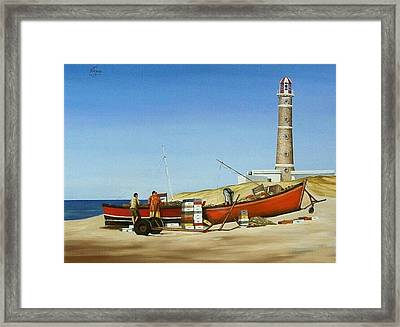 Framed Print featuring the painting Fishermen By Lighthouse by Natalia Tejera