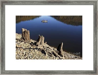 Fishermen. Lake Of  Auvergne. France Framed Print