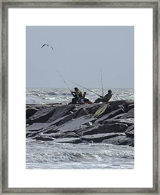 Fishermen With Seagull Framed Print
