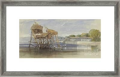 Fishermen's Houses On The Bosphorus Framed Print by Edward Lear