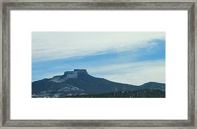 Fishers Peak Raton Mesa In Snow Framed Print by Christopher Kirby