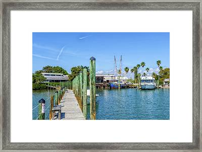 Framed Print featuring the photograph Fishery Restaurant Dock And Harbor by Frank J Benz