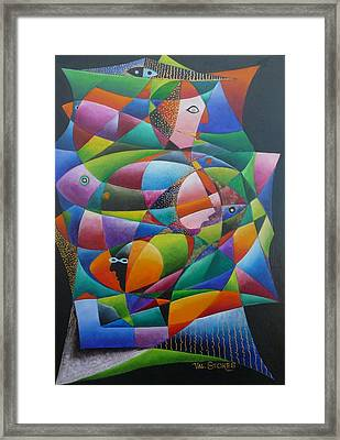 Fishes And Faces  Framed Print by Val Stokes