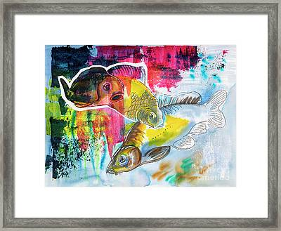 Framed Print featuring the painting Fishes In Water, Original Painting by Ariadna De Raadt