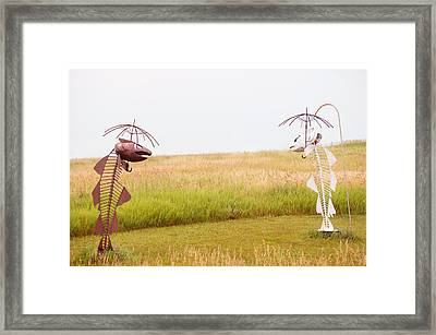 Fishes Under Umbrella  Framed Print by Art Spectrum