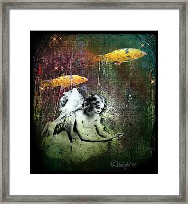 Framed Print featuring the digital art Fishes Wings by Delight Worthyn