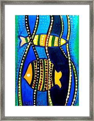 Framed Print featuring the painting Fishes With Seaweed - Art By Dora Hathazi Mendes by Dora Hathazi Mendes