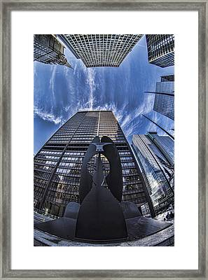 Fisheye View Of Chicago's Picasso Framed Print