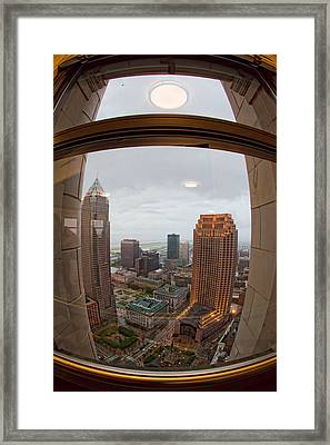 Fisheye View Of Cleveland From Terminal Tower Observation Deck Framed Print by Kathleen Nelson