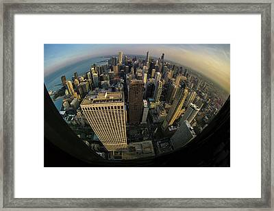 Fisheye View Of Dowtown Chicago From Above  Framed Print