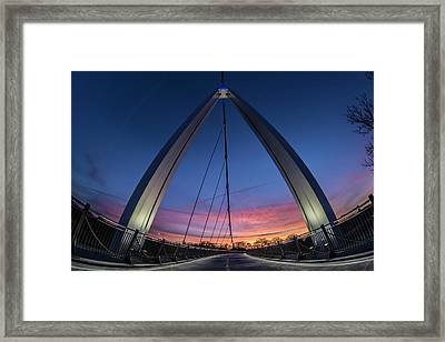 Fisheye View Of Modern Ped Bridge At Dawn In Chicago Framed Print by Sven Brogren