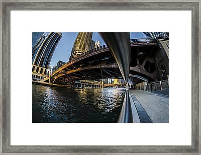 Fisheye View From The Chicago Riverwalk Framed Print