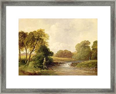 Fishing - Playing A Fish Framed Print by William E Jones
