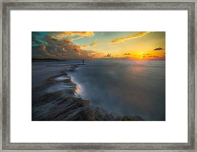 Fishing A Sunset Framed Print by Cristian Kirshbom