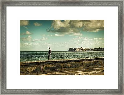 Framed Print featuring the photograph Fishing Along The Malecon by Lou Novick