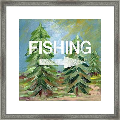 Fishing- Art By Linda Woods Framed Print by Linda Woods
