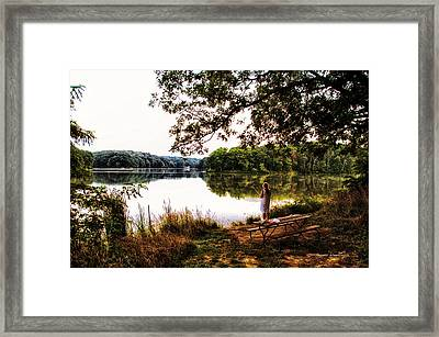 Fishing At Argyle Lake Framed Print by Thomas Woolworth