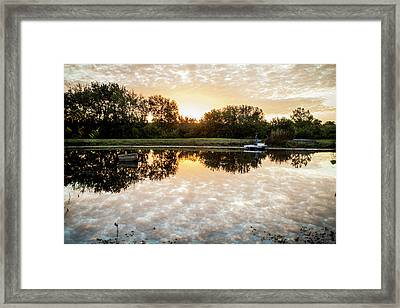 Framed Print featuring the photograph Fishing At Dawn by Wade Courtney