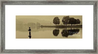 Fishing At Marsh Creek State Park Pa. Framed Print by Jack Paolini