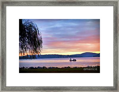 Framed Print featuring the photograph Fishing At Sunrise - Claytor Lake State Park by Kerri Farley