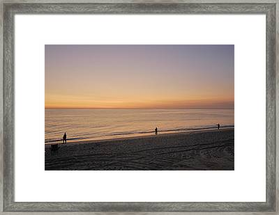 Fishing At Sunrise Framed Print by Mimi Katz