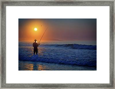 Framed Print featuring the photograph Fishing At Sunrise by Rick Berk