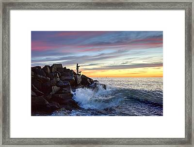 Fishing At Sunset Framed Print by Ann Patterson