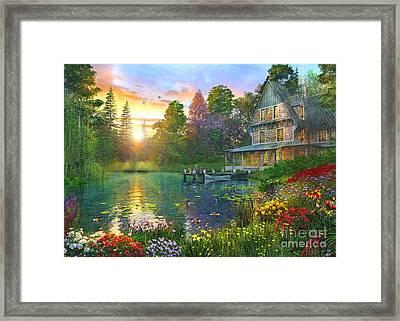 Fishing At Sunset Framed Print by Dominic Davison