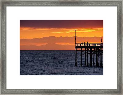 Framed Print featuring the photograph Fishing At Sunset by Quality HDR Photography