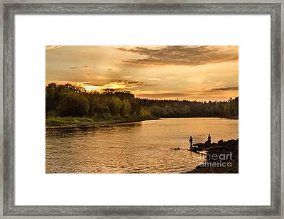 Fishing At Sunset Framed Print by Robert Bales