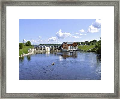 Fishing At The Croton Dam Framed Print