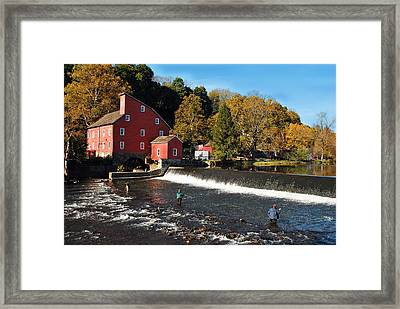 Fishing At The Old Mill Framed Print by Lori Tambakis