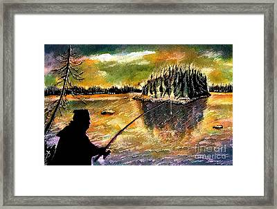 Fishing At Twilight Framed Print by Ion Danu