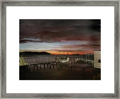 Fishing Bay At Sunrise Framed Print by Elisabeth Dubois