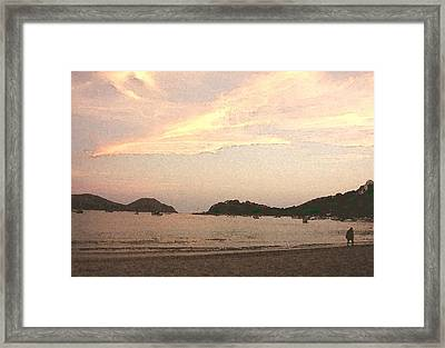 Fishing Bay At Sunset Framed Print by James Johnstone