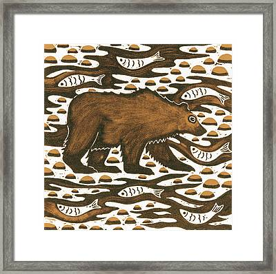 Fishing Bear Framed Print by Nat Morley