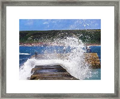 Fishing Beyond The Surf Framed Print by Terri Waters