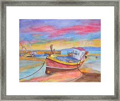 Fishing Boat At Low Tide Framed Print by Jonathan Galente