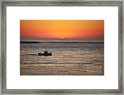 Fishing Boat At Sunrise. Framed Print