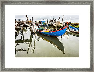 Fishing Boat At The Dock Framed Print by Marco Oliveira