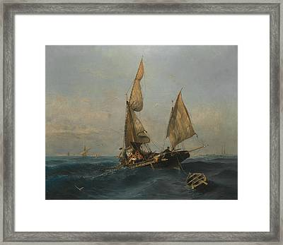 Fishing Boat In Choppy Waters Framed Print by Konstantinos Volanakis
